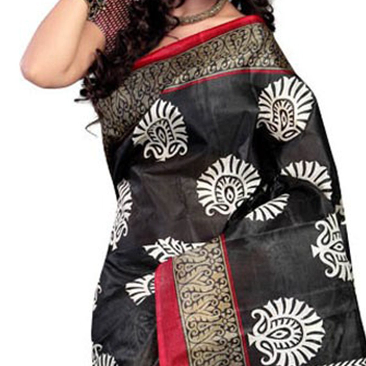 Black - White Printed Bhagalpuri Silk Saree