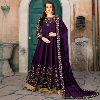 Beautiful Purple Colored Partywear Embroidered Tapeta Silk Anarkali Suit