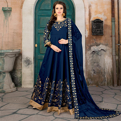 Glowing Navy Blue Colored Partywear Embroidered Tapeta Silk Anarkali Suit