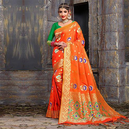Majesty Orange Colored Traditional Wear Heavy Art Silk Saree