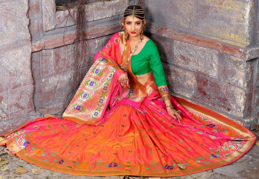 Lovely Dark Pink Colored Traditional Wear Heavy Art Silk Saree
