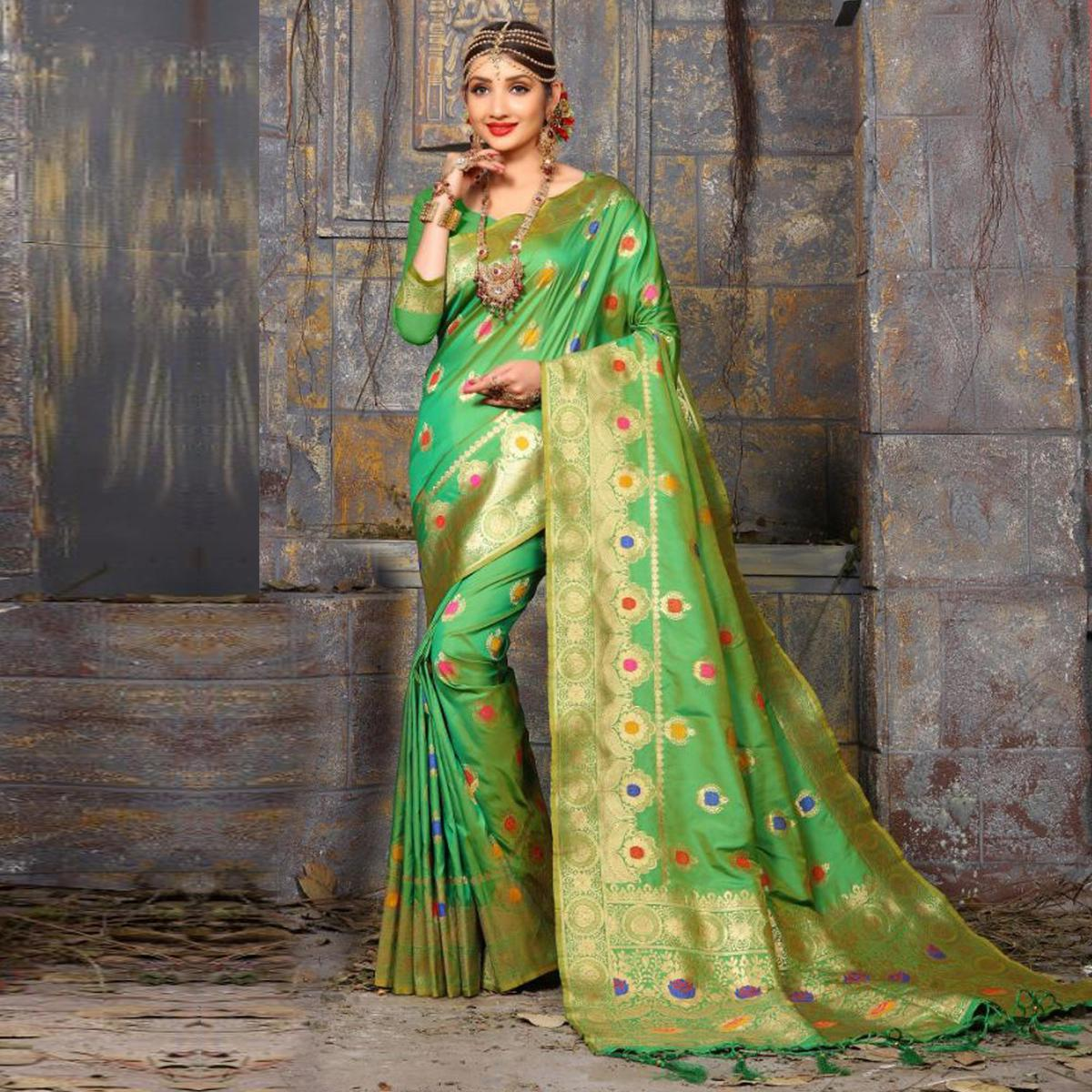 Stunning Royal Green Colored Traditional Wear Heavy Art Silk Saree