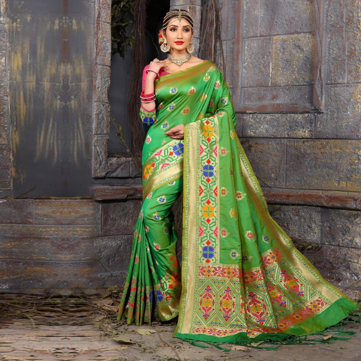 Glowing Lime Green Colored Traditional Wear Heavy Art Silk Saree