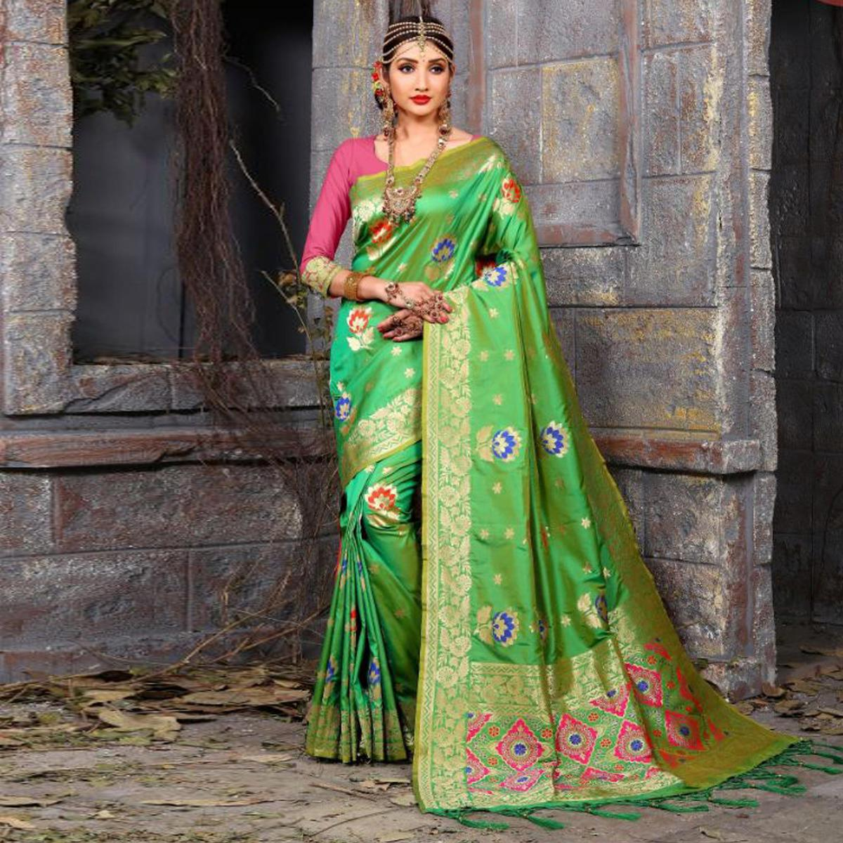 Precious Green Colored Traditional Wear Heavy Art Silk Saree