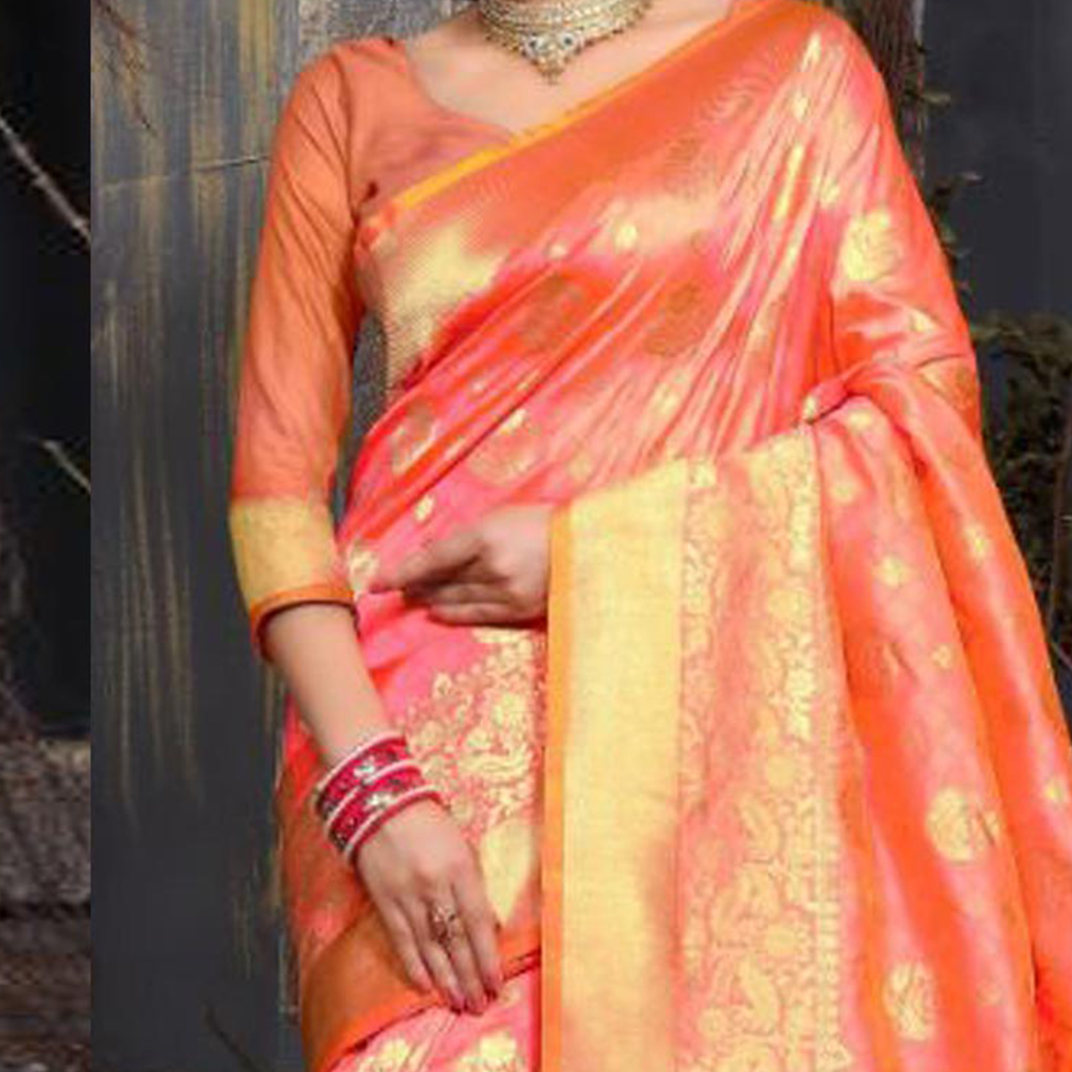 Elegant Peach Colored Traditional Wear Heavy Art Silk Saree