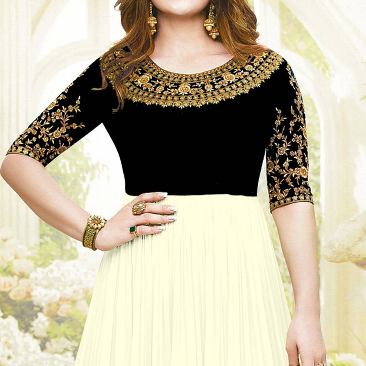 Adorable Black Colored Embroidered Party Wear Faux Georgette Anarkali Suit