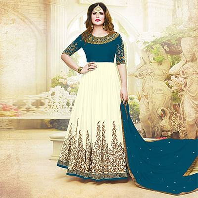 Awesome Rama Green Colored Embroidered Party Wear Georgette Anarkali Suit