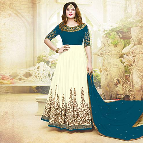 Awesome Rama Green Colored Embroidered Party Wear Faux Georgette Anarkali Suit