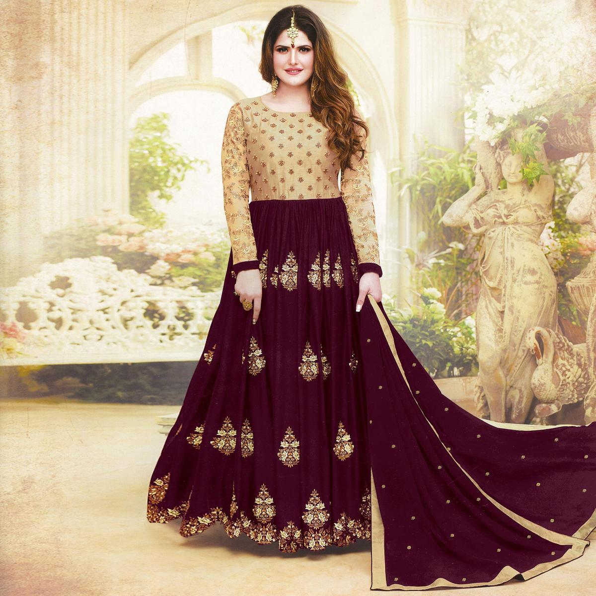 Prominent Maroon Colored Embroidered Party Wear Faux Georgette Anarkali Suit