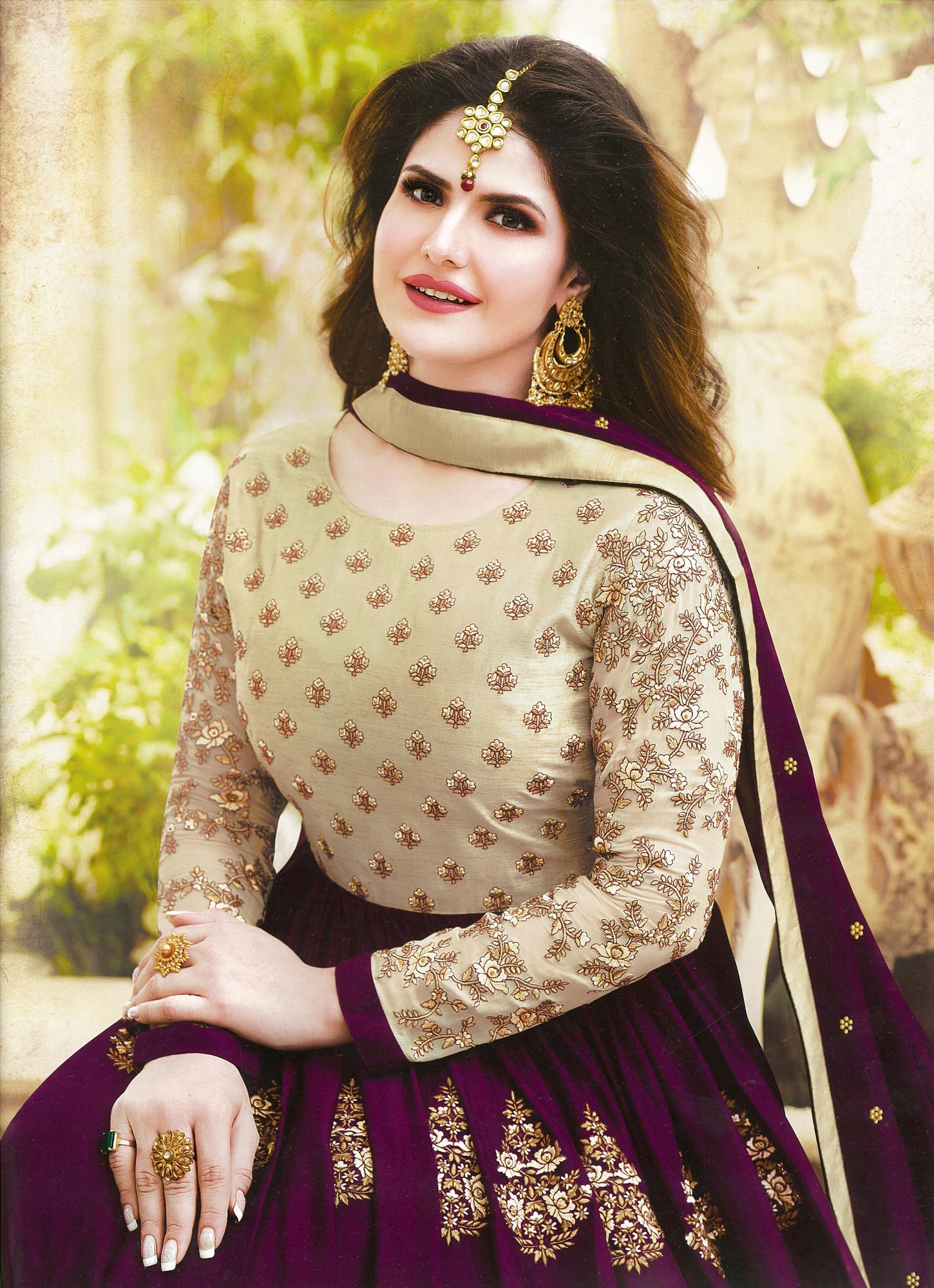 Prominent Maroon Colored Embroidered Party Wear Georgette Anarkali Suit