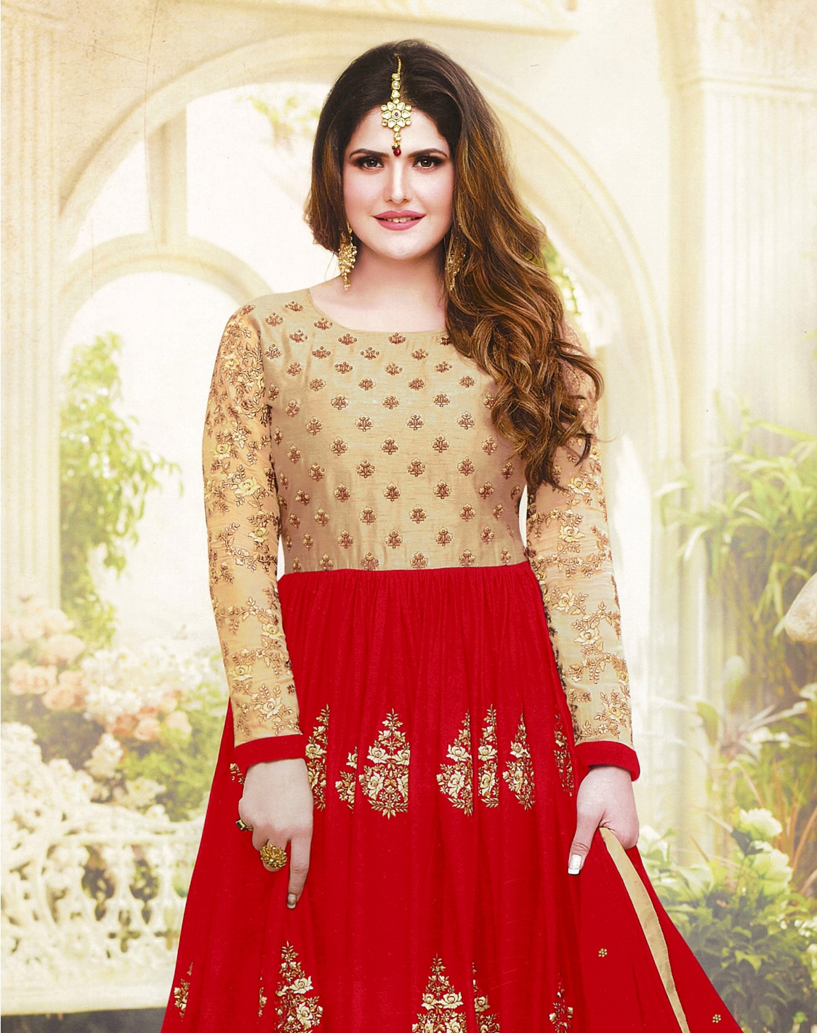 Dazzling Red Colored Embroidered Party Wear Faux Georgette Anarkali Suit