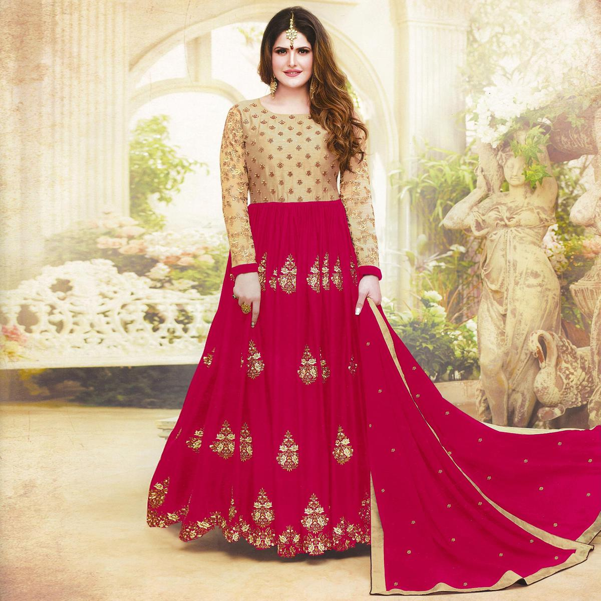 Lovely Pink Colored Embroidered Party Wear Faux Georgette Anarkali Suit