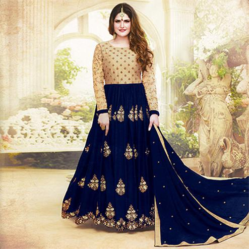 Ravishing Navy Blue Colored Embroidered Party Wear Faux Georgette Anarkali Suit