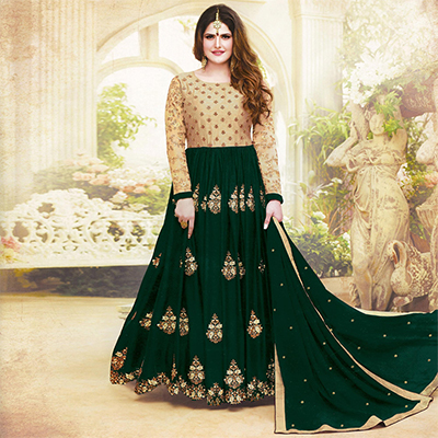 Alluring Green Colored Embroidered Party Wear Faux Georgette Anarkali Suit