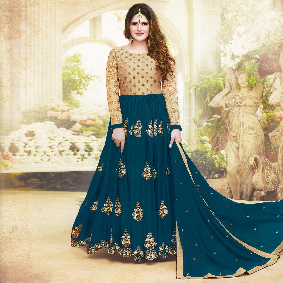 Elegant Rama Green Colored Embroidered Party Wear Faux Georgette Anarkali Suit
