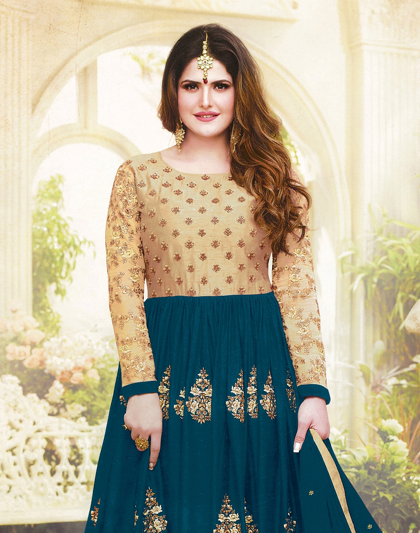 Elegant Rama Green Colored Embroidered Party Wear Georgette Anarkali Suit