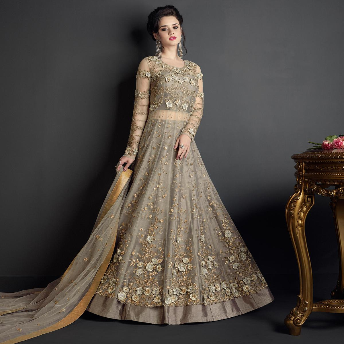 cf7c8d3615 Buy Breathtaking Grey Colored Designer Wedding Wear Embroidered Net Lehenga  Anarkali for womens online India, Best Prices, Reviews - Peachmode