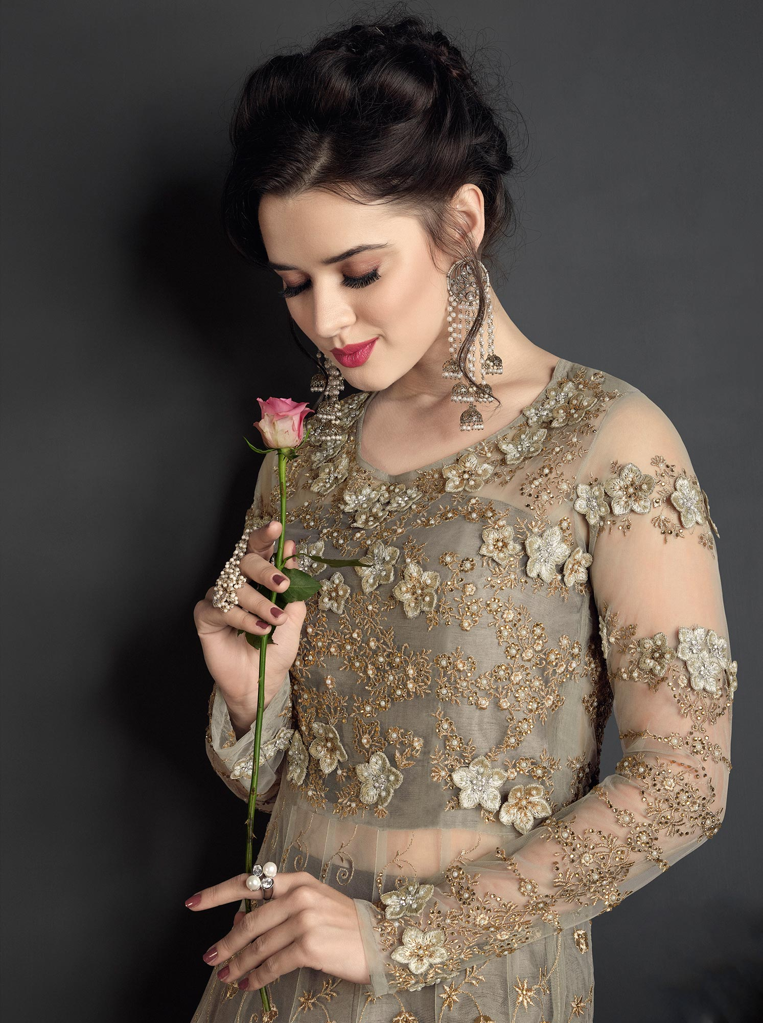 Breathtaking Grey Colored Designer Wedding Wear Embroidered Net Lehenga Anarkali