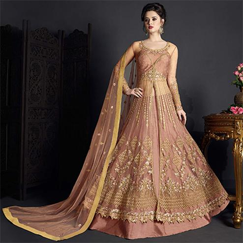 Elegant Pastel Brown Colored Designer Wedding Wear Embroidered Net Lehenga Anarkali
