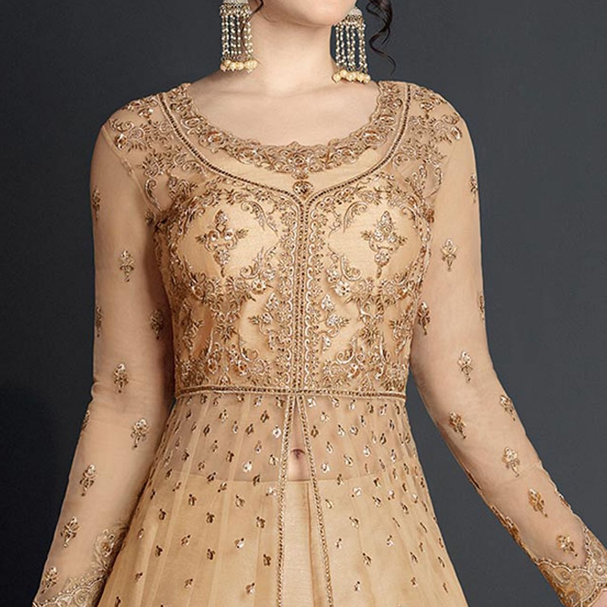 Attractive Beige Colored Designer Wedding Wear Embroidered Net Lehenga Anarkali