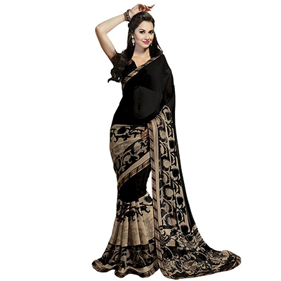 Black Floral Printed Georgette Saree