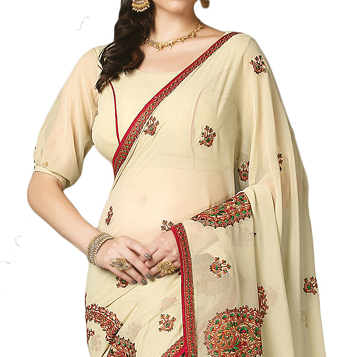 Attractive Cream Colored Partywear Embroidered Georgette Saree