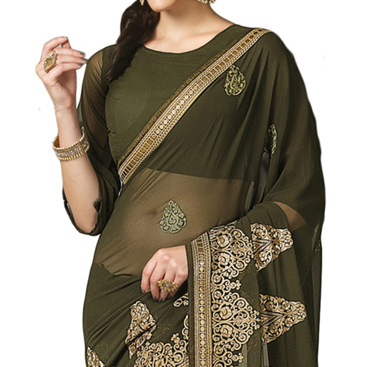 Unique Mehendi Green Colored Partywear Embroidered Georgette Saree