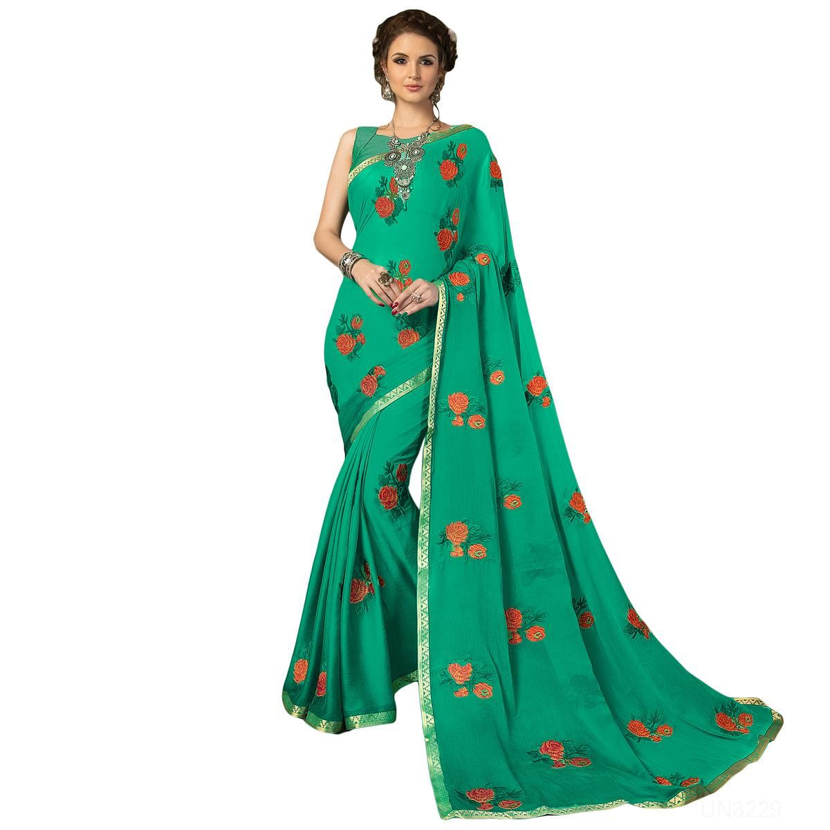Glowing Aqua Green Colored Partywear Embroidered Chiffon Saree
