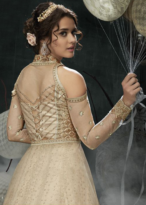 Impressive Cream Colored Designer Wedding Wear Net Lehenga Kameez