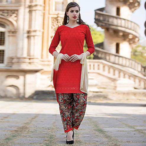 Beautiful Red Colored Casual Printed Cotton Salwar Suit