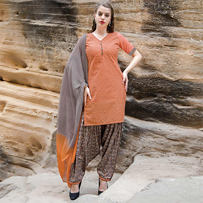 Gorgeous Orange Colored Casual Printed Cotton Salwar Suit