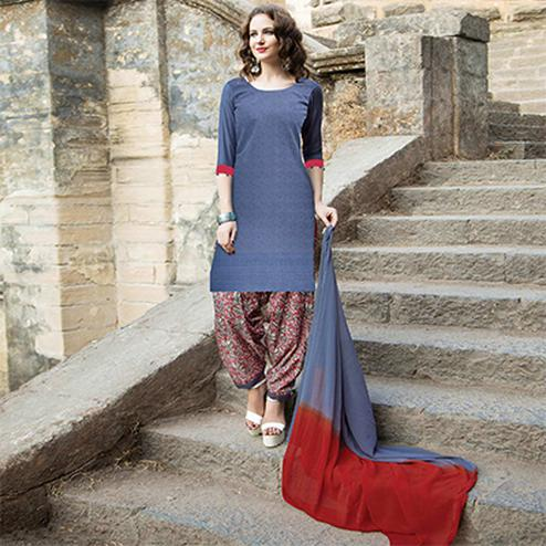 Trendy Blue Colored Casual Printed Cotton Salwar Suit