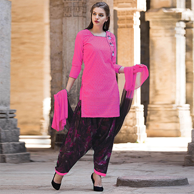 Pretty Pink Colored Casual Printed Cotton Salwar Suit