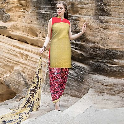 Groovy Yellow Colored Casual Printed Cotton Salwar Suit