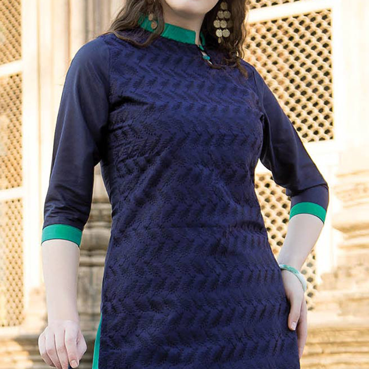 Bold Blue Colored Casual Printed Cotton Salwar Suit