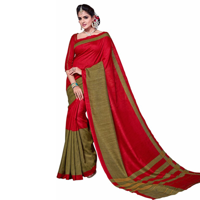 Red Bhagalpuri Silk Printed Saree