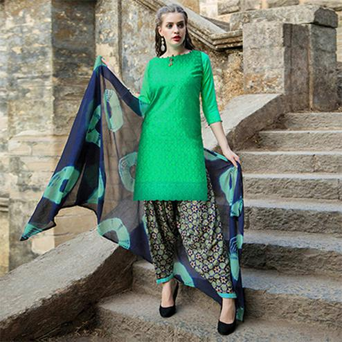 Desiring Green Colored Casual Printed Cotton Salwar Suit