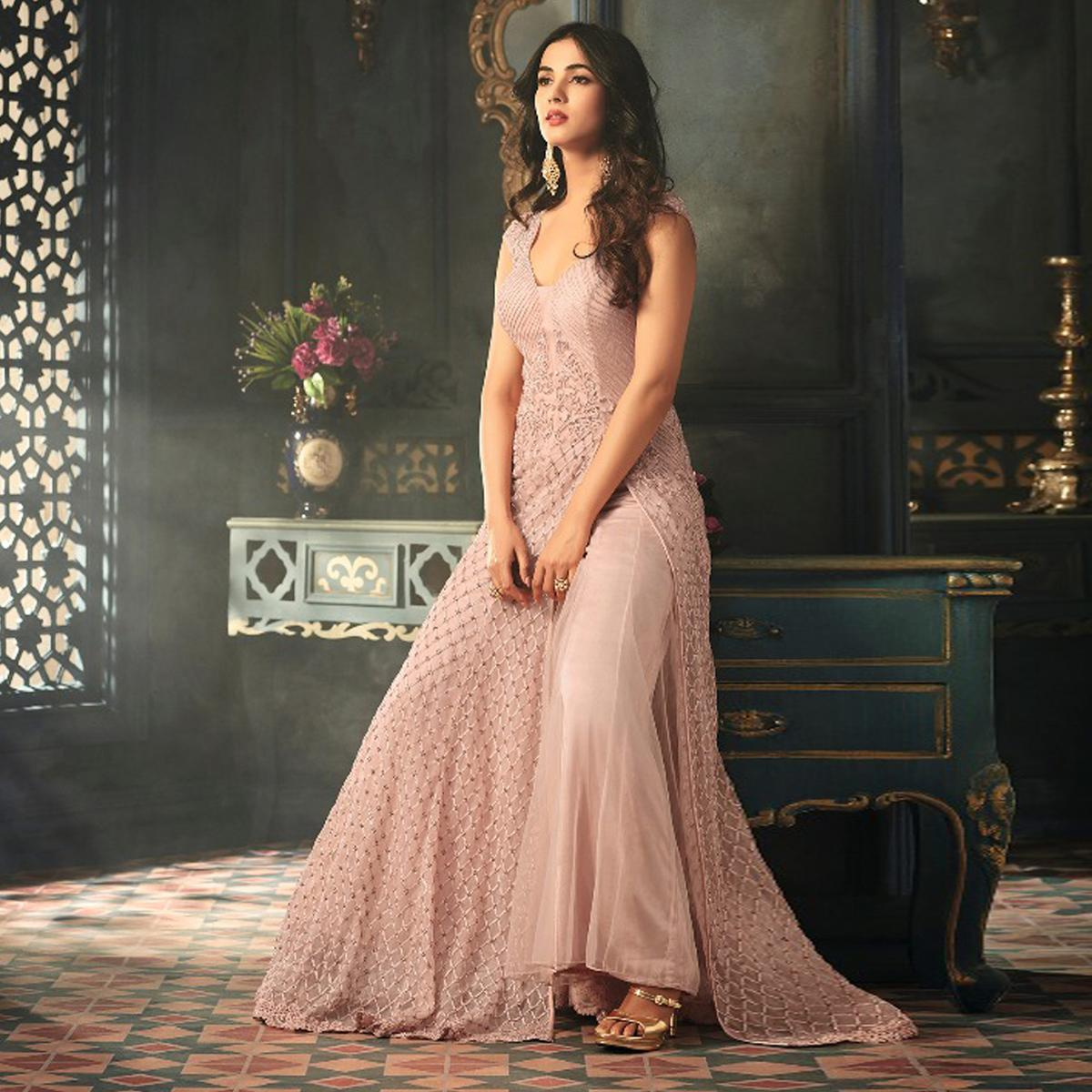 Buy Alluring Rose Gold Colored Designer Embroidered Work Party Wear Net Suit For Womens Online India Best Prices Reviews Peachmode