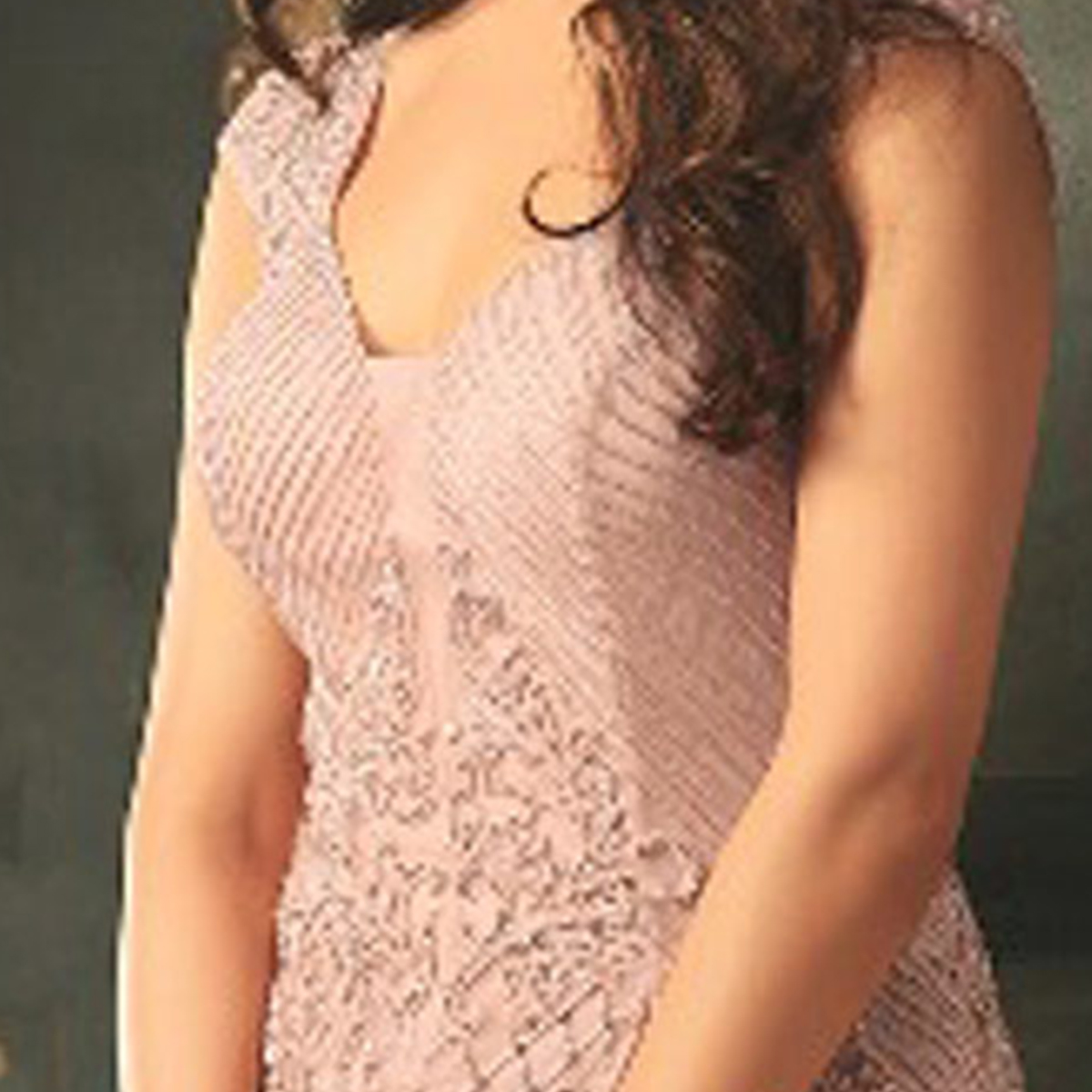 Alluring Rose Gold Colored Designer Embroidered Work party Wear Net Suit