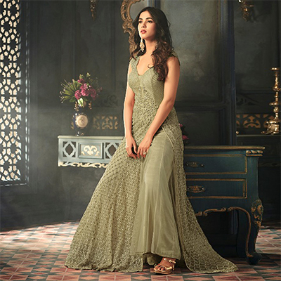 Radiant Olive Green Colored Designer Embroidered Work party Wear Net Suit