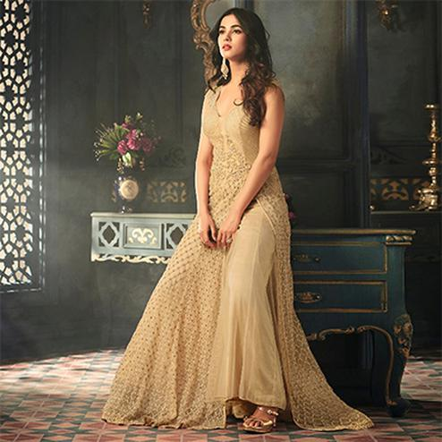 Dazzling Beige Colored Designer Embroidered Work party Wear Net Suit