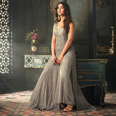Unique Grey Colored Designer Embroidered Work party Wear Net Suit