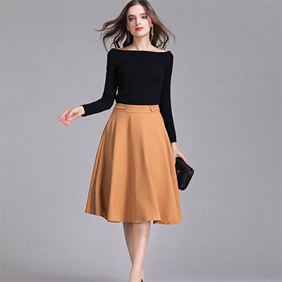 Stylish Black-Beige Colored Partywear Rayon and White Out Top-Skirt Set