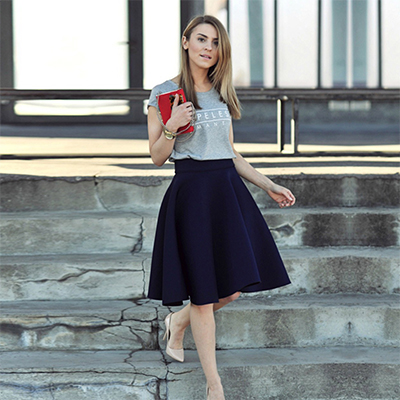 Groovy Gray-Navy Blue Colored Casual Wear Linen and White Out Top-Skirt Set
