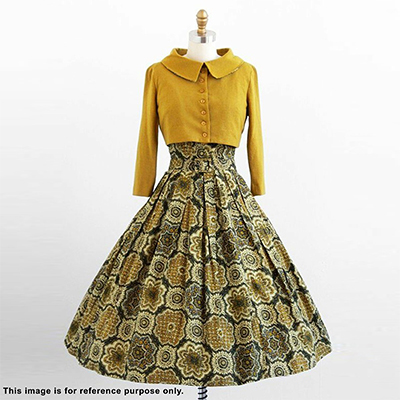Classy Yellow Colored Partywear Printed Rayon And Linen Top-Skirt Set