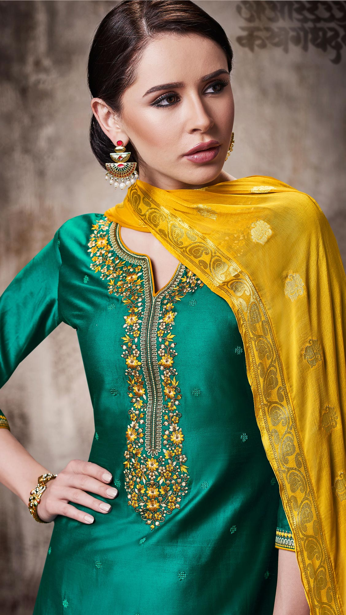 Pretty Dark Green Colored Embroidered Work Party Wear Silk Cotton Patiala Suit