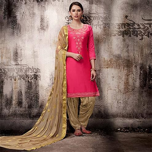 Lovely Pink Colored Embroidered Work Party Wear Silk Cotton Patiala Suit