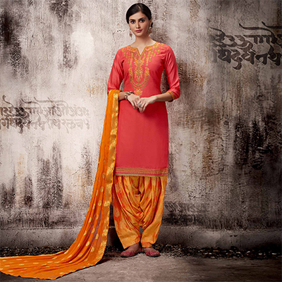 Ravishing Peach Colored Embroidered Work Party Wear Silk Cotton Patiala Suit