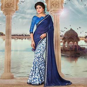 Blue Art Silk Digital Printed Fancy Saree
