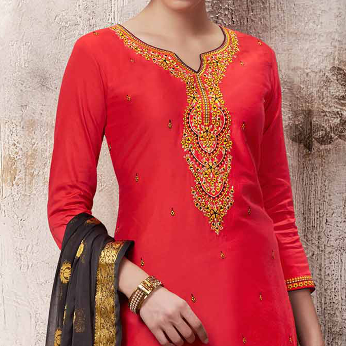 Stunning Deep Pink Colored Embroidered Work Party Wear Silk Cotton Patiala Suit